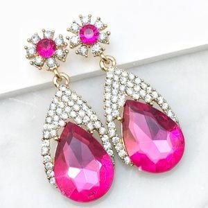 Cherryl's Jewelry - Bright Pink Fuschia Crystal & Rhinestone Earrings